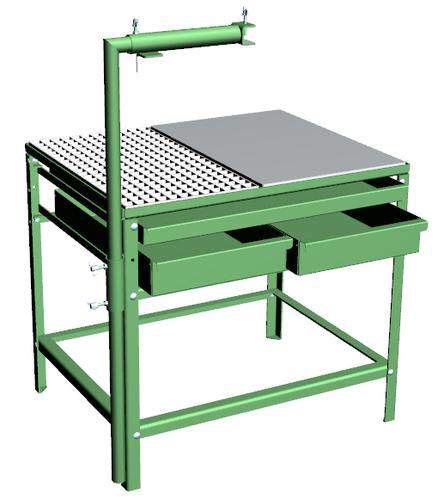 schwei tisch hpm st600 mit eisenplatte und gitter h x t x. Black Bedroom Furniture Sets. Home Design Ideas