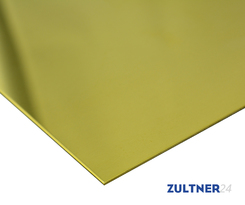 Brass sheet CW508L (CuZn37) 2,0x1250x2500 mm EN1652/1997, R350 one side laminated with blue film, natural edge