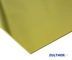 Messing-Blech CW508L (CuZn37) 2,0x1250x2500 mm EN1652/1997, R350  einseitig foliert mit blauer Folie, Naturkante